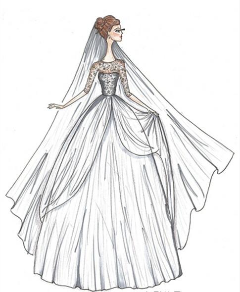 设计婚纱礼服 2017手绘婚纱礼服设计图大全