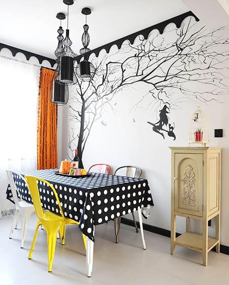 地中海风格120平三居手绘背景墙