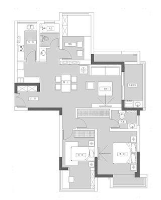 120平北欧三居户型平面图