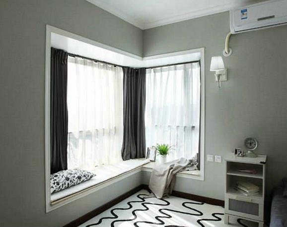 拐角飘窗窗帘效果图 如何打造梦幻拐角飘窗图片