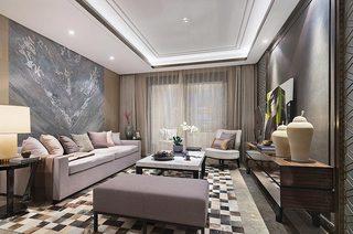 简约风格样板间客厅地毯图片