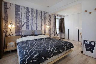80㎡北欧一居室卧室图片