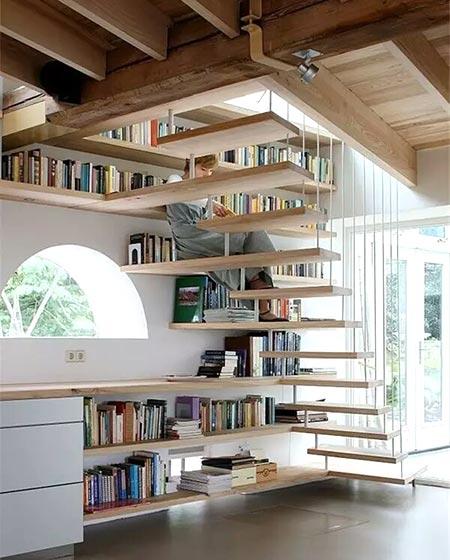 挑高公寓装修实木楼梯图片