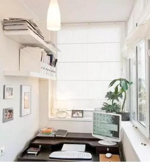 阳台做书房装修效果图 1.7米阳台变书房装修太实用了图片