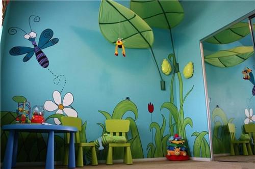 儿童房手绘效果图 7㎡儿童房这种装童趣十足