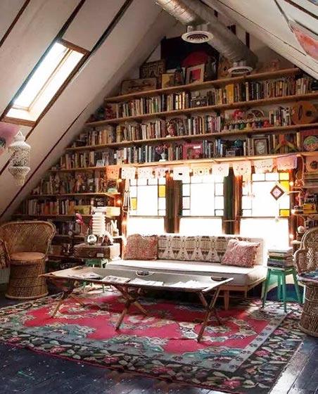 阁楼复古风书房设计欣赏图