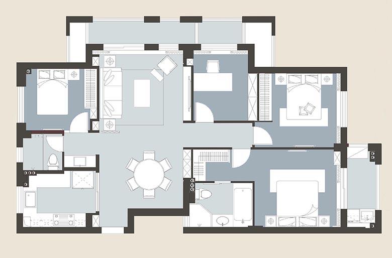 160㎡美式三居室平面图