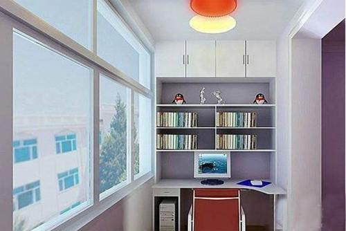 阳台改书房效果图 小户型外阳台改成书房装修案例图片