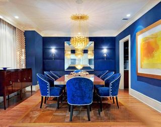 蓝色系餐厅装修图片