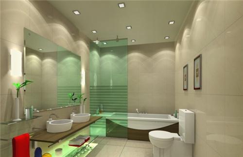 我们再来看看这款洗手间的设计,依然是一个长方形的空间,木质和玻璃