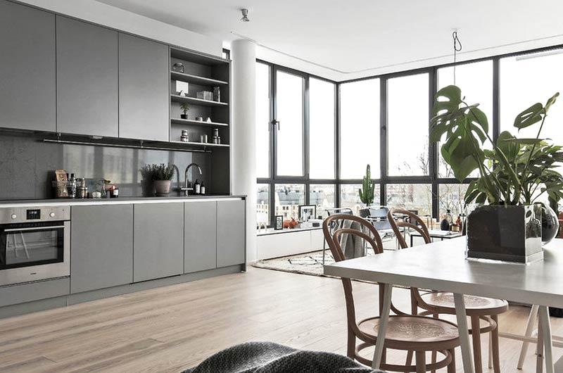 北欧风格公寓餐厅厨房一体装修