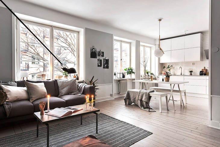 52平单身公寓装修客厅地毯效果图