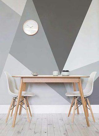几何图案背景墙布置摆放图