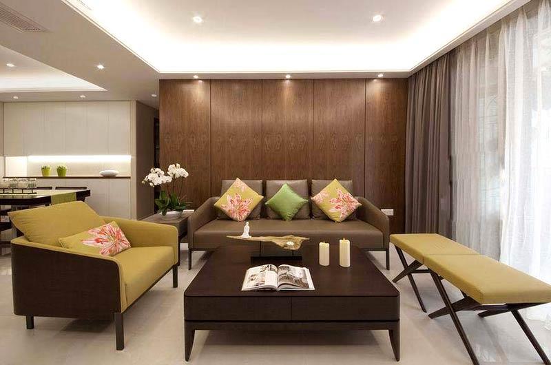 120平简约三居室木质沙发背景墙