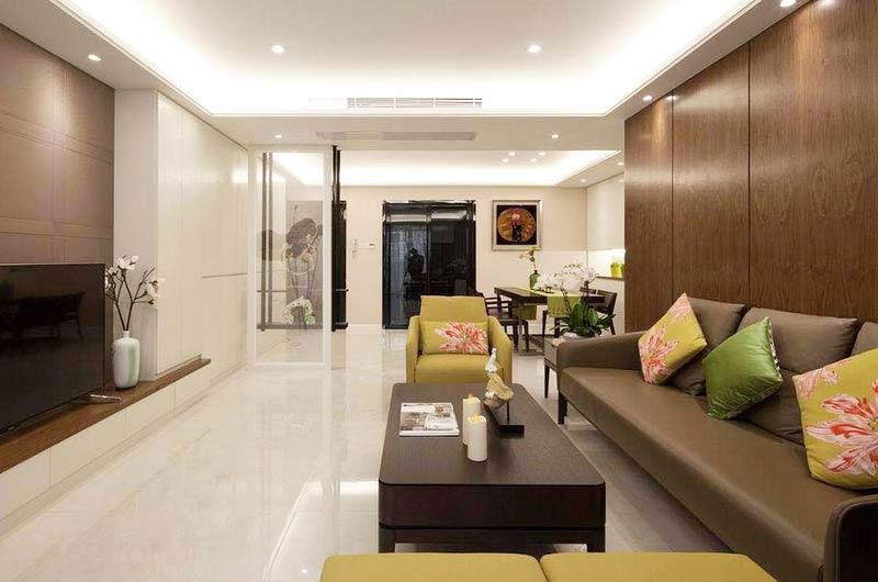 120平简约三居室客厅吊顶装修