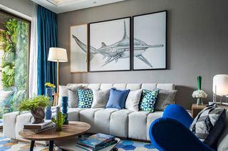 89平现代简约风格小三室装修 静谧海洋蓝2/11