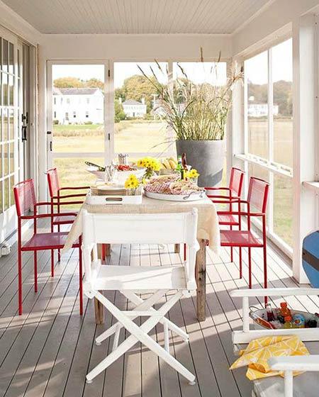 阳台餐厅装修木地板设计
