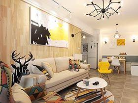 89平北欧风格两室两厅装修 清新活力亲子宅