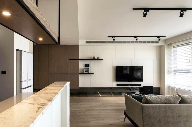 85平简约小公寓客厅电视背景墙图片