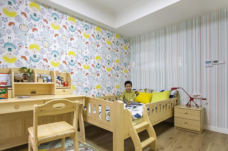 200平复式楼装修儿童房壁纸图片
