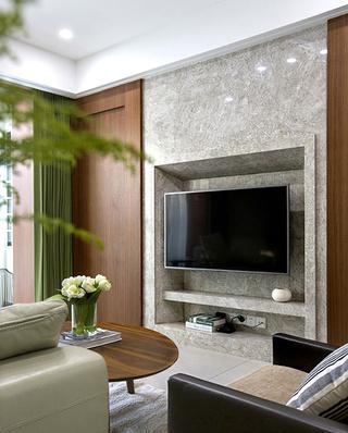 200平复式楼装修石材电视背景墙