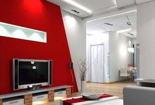 客厅红色电视背景墙装修