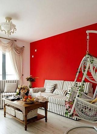 红色客厅沙发背景墙效果图大全