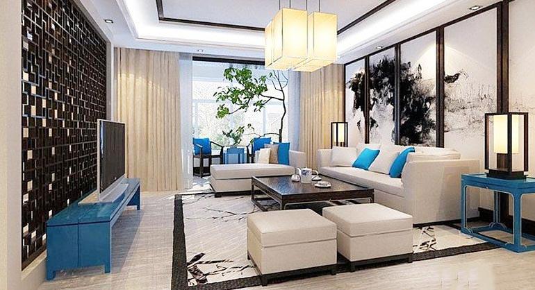 新中式客厅装修装饰效果图