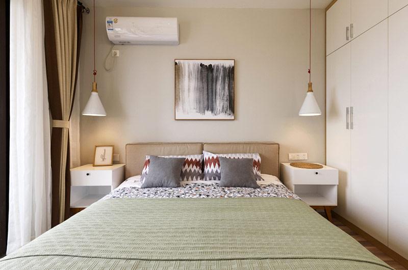 70平北欧风格二居卧室床头背景墙