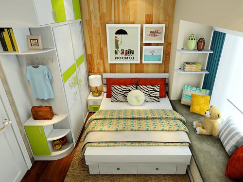小房间榻榻米床装修效果图 榻榻米衣柜书桌一体设计案例图片