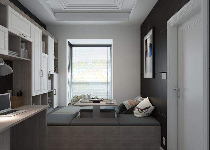 现代简约小户型装修效果图 三居室灰白主题小户型设计