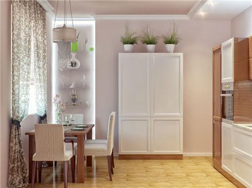 餐厅酒柜隔断装修效果图 巧用酒柜分隔120㎡三室两厅