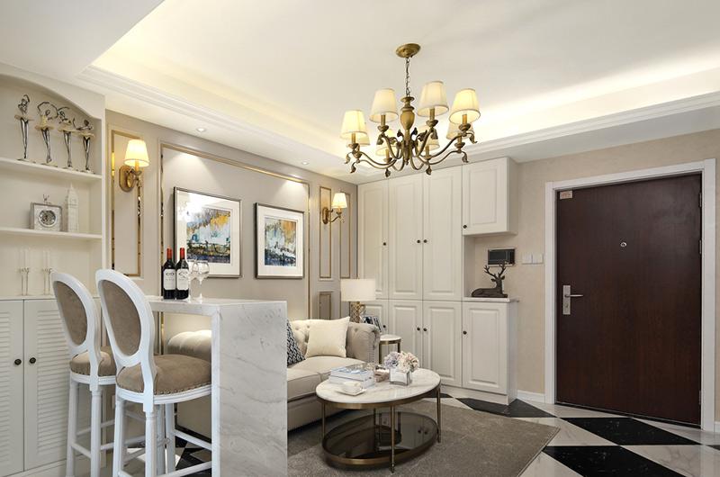 60平小户型一居客厅吊灯图片