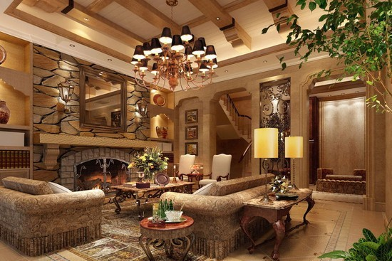 欧式田园客厅装修效果图 欧式装修优雅不可阻挡图片