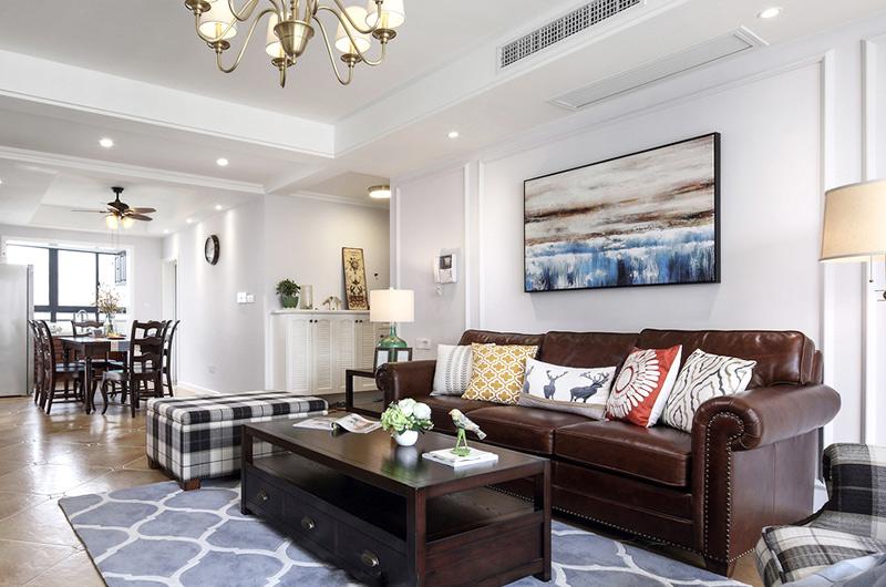 140平美式风格四居客厅装修图