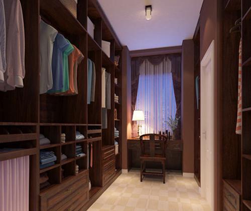 深木色的柜子让这个空间传递出一股中式格调,造型虽然简朴但不失韵味图片