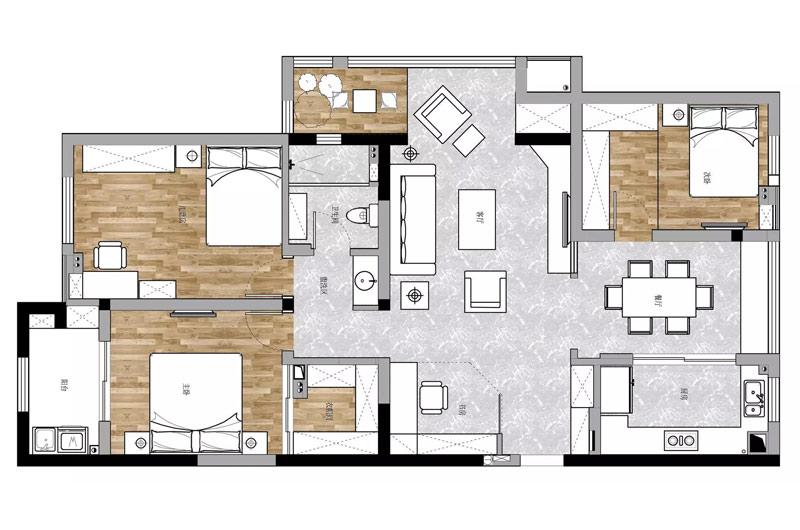 135平美式风格三居装修户型图