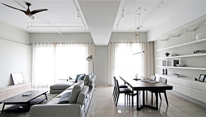 90平米现代极简风客餐厅平面图