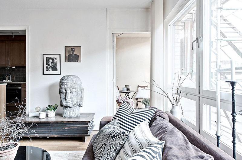 北欧风格一居室装修客厅背景墙装修