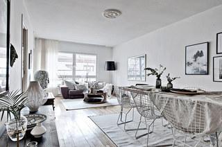 北欧风格一居室装修餐厅地毯图片