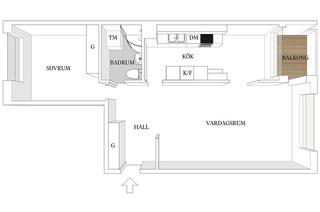 北欧风格一居室装修平面布置图