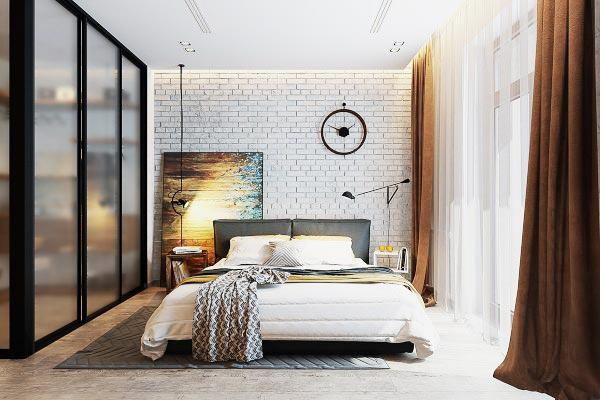 卧室裸砖背景墙设计实景图