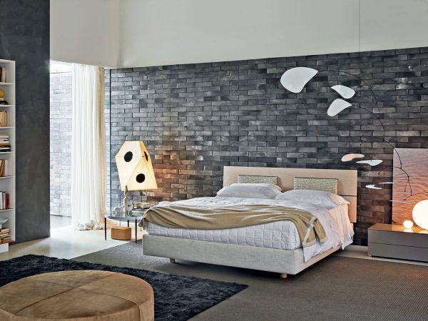 卧室裸砖背景墙装修装饰效果图