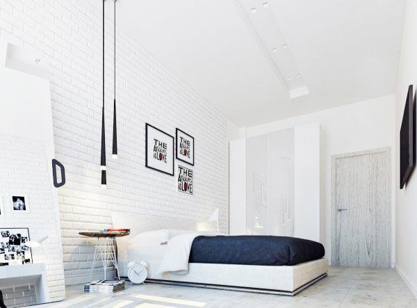 白色卧室裸砖背景墙图片