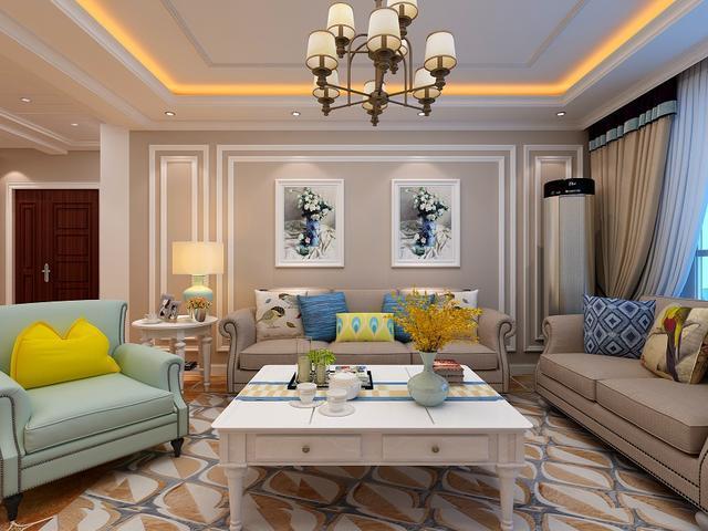 客厅花地砖拼贴装修设计效果图:英式风格