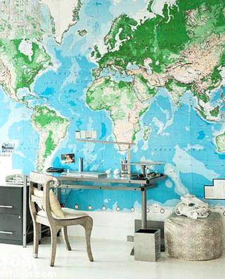 书房背景墙装修地图壁纸图片
