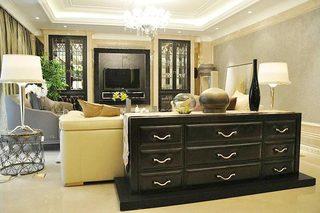 黑色沙发装饰柜装修实景图