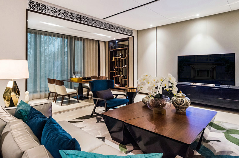 现代中式风格装修客厅电视背景墙