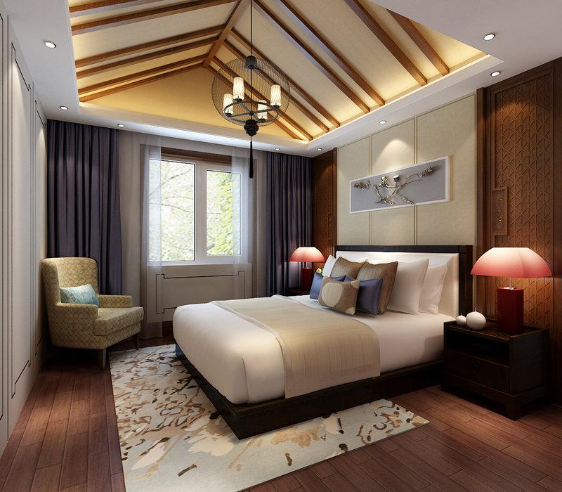 10-15万120平米中式三居室装修效果图,爱尚易格新中式图片