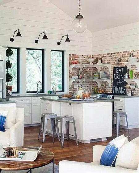 美式风格厨房装修背景墙设计